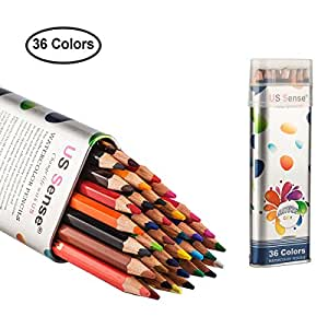 Colored Pencils Watercolor Coloring Pencils 36 Art Supplies Premium Drawing Pencil set for Adults Coloring Book by US Sense