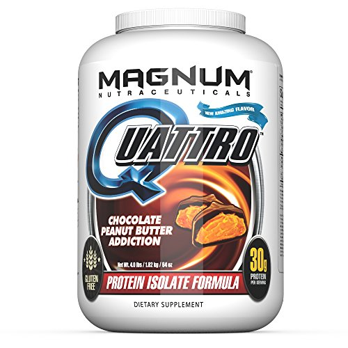 Magnum Nutraceuticals Quattro Protein Powder - 4lbs - Chocolate Peanut Butter Addiction - Protein Isolate - Lean Muscle