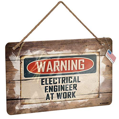 NEONBLOND Metal Sign Warning Electrical Engineer at Work Vintage Fun Job Sign Christmas Wood Print