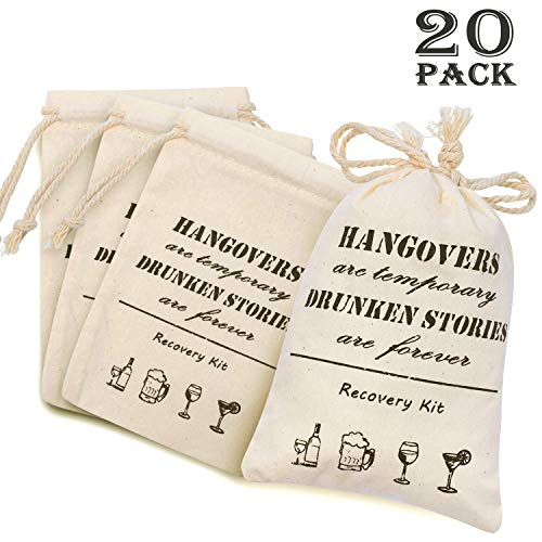 "Whaline 20 Pcs 4"" x 6"" Bachelorette Hangover Kit Bags Cotton Recovery Kit Bags Muslin Drawstring Bag for Bridal Shower Wedding Party Gift Decoration"