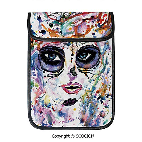 SCOCICI Simple Protective Halloween Girl with Sugar Skull Makeup Watercolor Painting Style Creepy Decorative Pouch Bag Sleeve Case Cover for 12.9 inches Tablets -