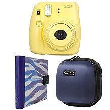 Nifty FK-M8YL85PP Fuji Instax Mini 8 Camera Kit Yellow, With A Mini Camera Case Navy Blue, A Purple and White Zebra Album
