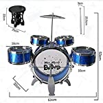 SR Toys Music Jazz Drum Set Big Size Musical Drum Set with 5 Drums, Cymbal and Chair Musical Toy blue