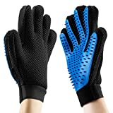 Pet Grooming Glove - Gentle Deshedding Brush Glove - Efficient Pet Hair Remover Mitt - Massage Tool with Enhanced Five Finger Design - Perfect for Dogs Cats and Horses with Long & Short Fur - 2Pcs (Both for Right Hands)