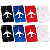 LERTREE 8PCS Aluminium Alloy Luggage Tags Baggage Name Tags Suitcase Address Label Holder Travel Accessories