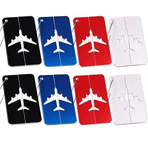 LERTREE 8PCS Aluminium Alloy Luggage Tags Baggage Name Tags Suitcase Address Label Holder Travel Accessories ()