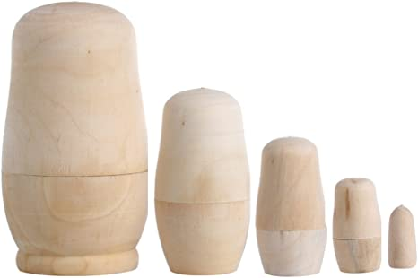 5pcs//Set Unpainted  Russian Nesting Dolls DIY Blank Wooden Embryos Toy Gift E