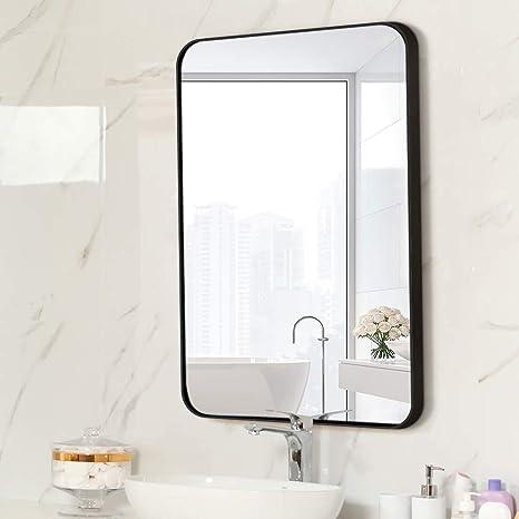 Amazon Com Letushy Aluminium Frame Wall Mirror Rectangle Bathroom Mirror Vanity Mirror Makeup Mirror Round Corner Design 24 31 Black Home Kitchen
