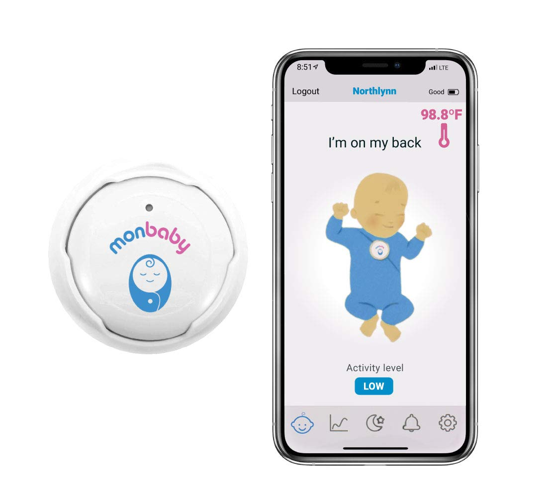 MonBaby Rechargeable Baby Monitor with Breathing, Rollover and Temperature Sensors: Track Baby's Breathing, Body Movement, Ambient Temperature. (3+ Days per Charge)