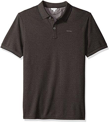 Calvin Klein Men's Short Sleeve Two Tone Pique Oxford Polo Shirt, Black, Large
