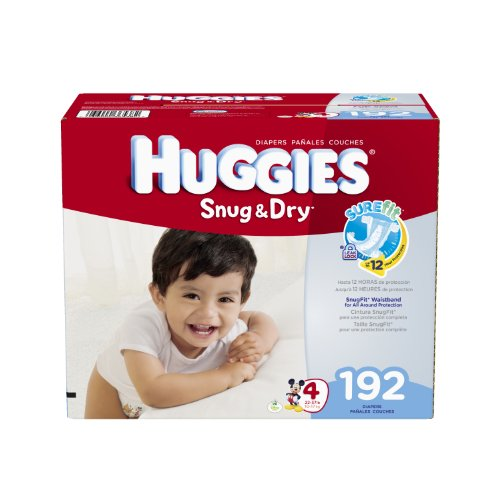 Huggies Snug et Dry Diapers, Taille 4, Economy Plus Pack, 192 comte