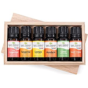Plant Therapy FRUITS 6 Essential Oil Sampler Set. Includes 100% Pure, Undiluted Essential Oils of: Sweet Orange, Pink Grapefruit, Lime, Lemon, Tangerine and Mandarin. 10 ml (1/3 oz) each.