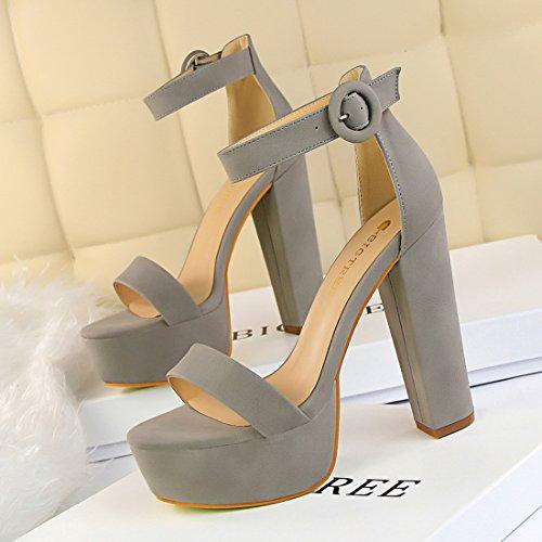 Formal Vestido Chunky Womens Sexy de tacón Zapatos bomba Ankle alto Block Sandalia YIBLBOX con Strap Fiesta gris plataforma con tO6tw