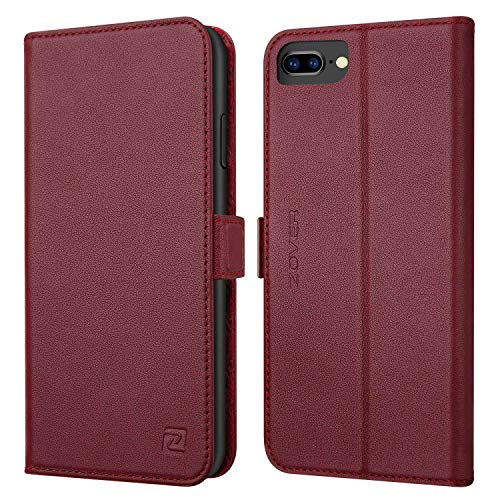 iPhone 8 Plus case iPhone 7 Plus case ZOVER Genuine Leather Wallet Case with RFID Blocking Kickstand Feature Card Slots & ID Holder and Magnetic Clasps for iPhone 7 Plus iPhone 8 Plus Wine Red