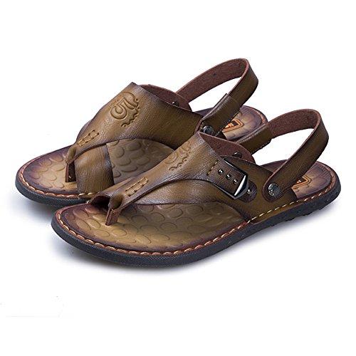 Classic Chanclas Sandalias Playa de Hombres Verano Cuero Caqui Pink Zapatos Punta Descubierta Piscina wtrqgft