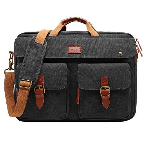 CoolBELL Convertible Messenger Bag Backpack Laptop Shoulder Bag Business Briefcase Leisure Handbag Multi-Functional Travel Bag Fits 17.3 Inch Laptop for Men/Women/College (Canvas - Laptop Black 17.3 Inch
