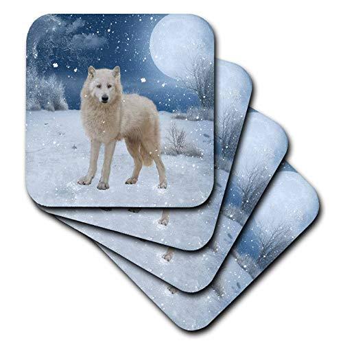 3dRose Heike Köhnen Design Animal - Beautiful arctic wolf in a winter landscape - set of 4 Ceramic Tile Coasters (cst_287317_3) ()