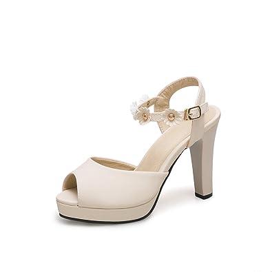 Exing Chaussures pour Femmes en Similicuir Été Talon Aiguille Plate-Forme pour la Robe de Soirée Et de Soirée Blanc cassé Noir Jaune Blanc (Couleur : B, Taille : 36)