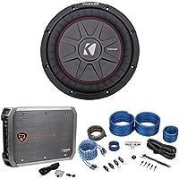 Kicker 43CWRT102 COMPRT10 800w 10 Shallow Car Subwoofer+Mono Amplifier+Amp Kit