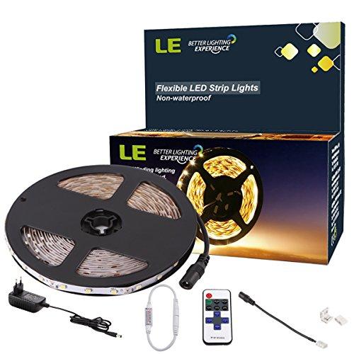 LE LED Streifen Set 300 LEDs 3528 5m 12V warmweiß, Inklusive der Fernbedienung und des Netzteils, nicht wasserdicht, LED Lichtleiste Lichtband