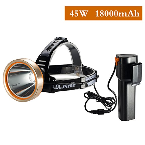 HOTFS LED Headlamp, Spotlight Headlamp,Super Bright 6000 Lumen Headlight with,Improved Led Headlamps, Rechargeable 18650 Flashlights,18000mAh, Waterproof Light, Camping,Hiking,Mining Light, Hunting