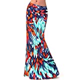 Aisa Women Colorful Printed High Waist Maxi Skirt Summer New Fold Over Beach Long Skirt Dress Size Large