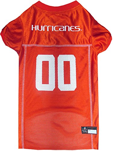Cheerleader Jock Costume - Pets First Collegiate Miami Hurricanes University Dog Mesh Jersey, Small