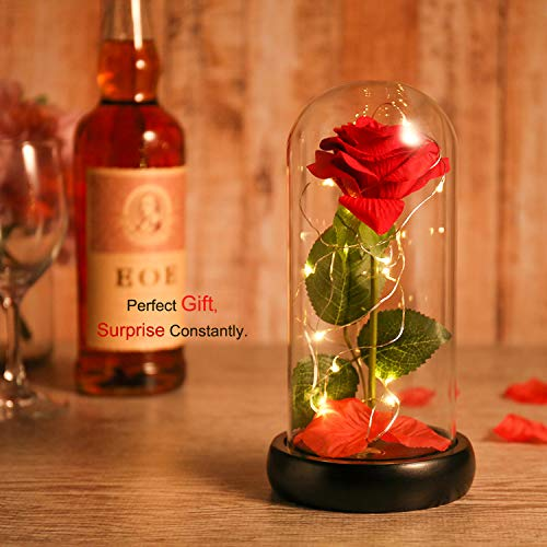 Dream-of-Flowers-Beauty-and-The-Beast-Red-Silk-Rose-in-Glass-Dome-Fallen-Petals-and-Wood-Base-in-a-Glass-DomeBest-Gift-for-Her-on-Valentines-Day