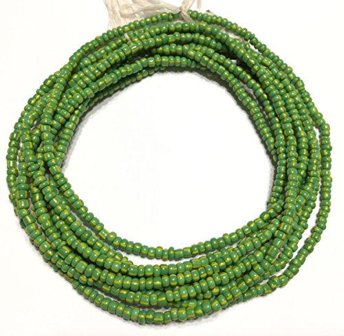 Vintage Ghana Green waist seed Beads Glass African Trade ()
