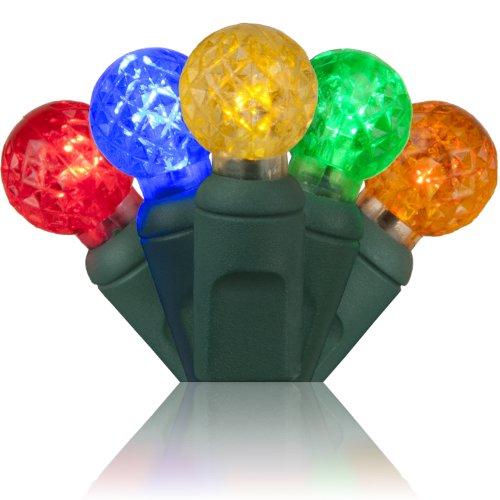 "G12 Multi Leds - Wintergreen Lighting G12 Multicolor LED Raspberry Lights, Globe-Shaped Christmas Tree Mini Lights, LED String Lights, Green Wire, 4"" Spacing"