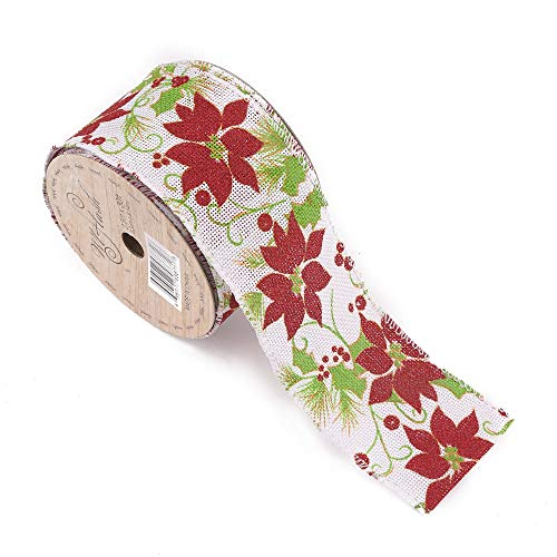 Christmas Wired Ribbon (2-1/2-Inch Wide by 10 Yard Spool Wired Edge Craft Ribbon (W415 Christmas Flower)