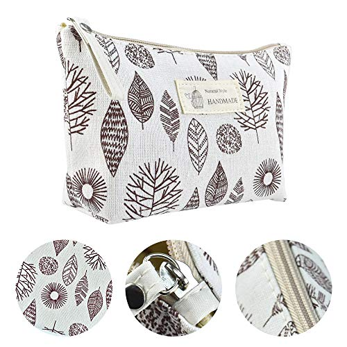 DKAF 2 Pcs Printed Canvas Cosmetic Bag, Multi-Function Travel Cosmetic Bag Coin Purse Holder Bags Pencil Packet Large-Capacity Toiletry Bags-B