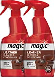 Magic Leather Cleaner and Conditioner - UV Protectants Help Prevent Cracking or Fading of Leather Furniture, Car Seats, Shoes, Purses and More 24 Fluid - 2 Pack