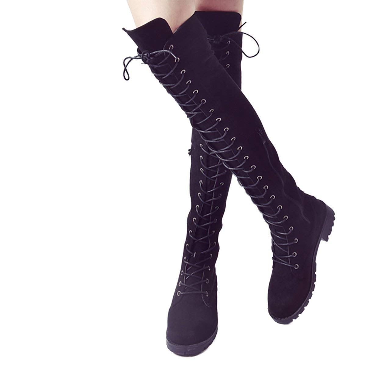 KAOKAOO Womens Over The Knee Pull On Boots Thigh High Low Heel Faux Suede Lace Up Wide Calf Boots