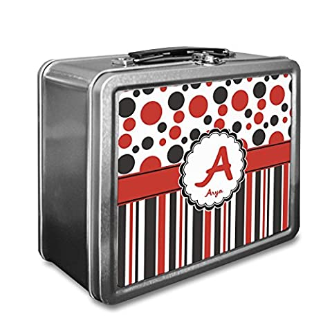 Red & Black Dots & Stripes Lunch Box (Personalized) - Dots Personalized Lunch Box