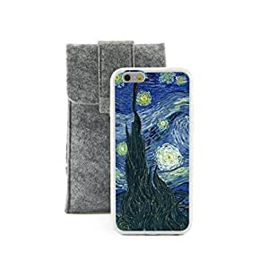 Euclid+ - The Starry Night Vincent van Gogh Painting Embossed Design White Bumper Plastic+TPU Case Cover for Apple iPhone 6 6th 6Generation 4.7