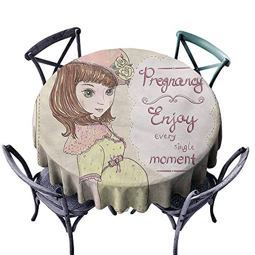 Lcxzjgk Oil-Proof and Leak-Proof Tablecloth Quotes Pregnancy Enjoy Every Single Moment Clipart Pregnant Woman Dress Hat Eggshell Pink Multicolor Table Decoration D43