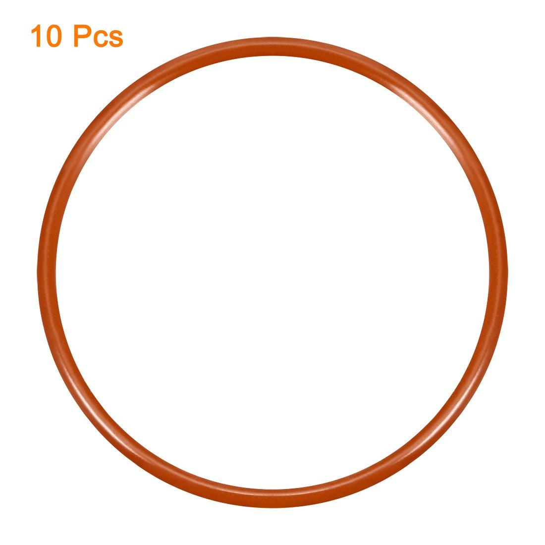 60mm Outside Diameter 2.4mm Width sourcingmap Silicone O-Ring 55.2mm Inner Diameter 10PCS VMQ Seal Rings Sealing Gasket Red
