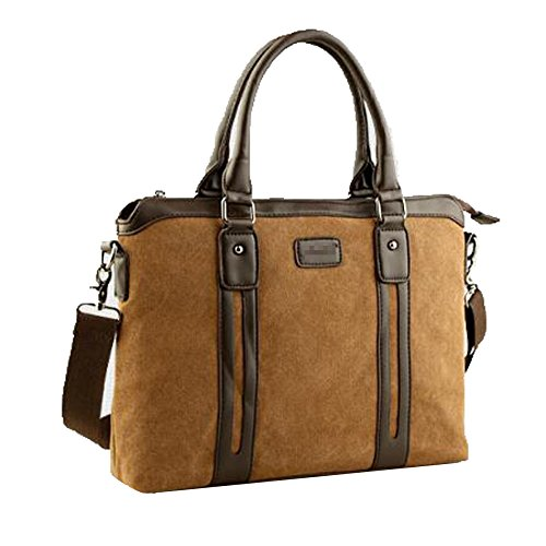 Shoulder Brown De Canvas Bag Bolso Satchel Vintage Hombre Maletín Messenger Crossbody Bag Wgqfwpf0xR