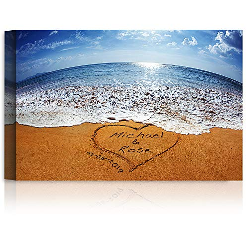 Sand Writing - Personalized Art Canvas Prints Gift, includes Names and the Special Date - Perfect Gift for the Wedding Anniversary. (Date Print Wedding)