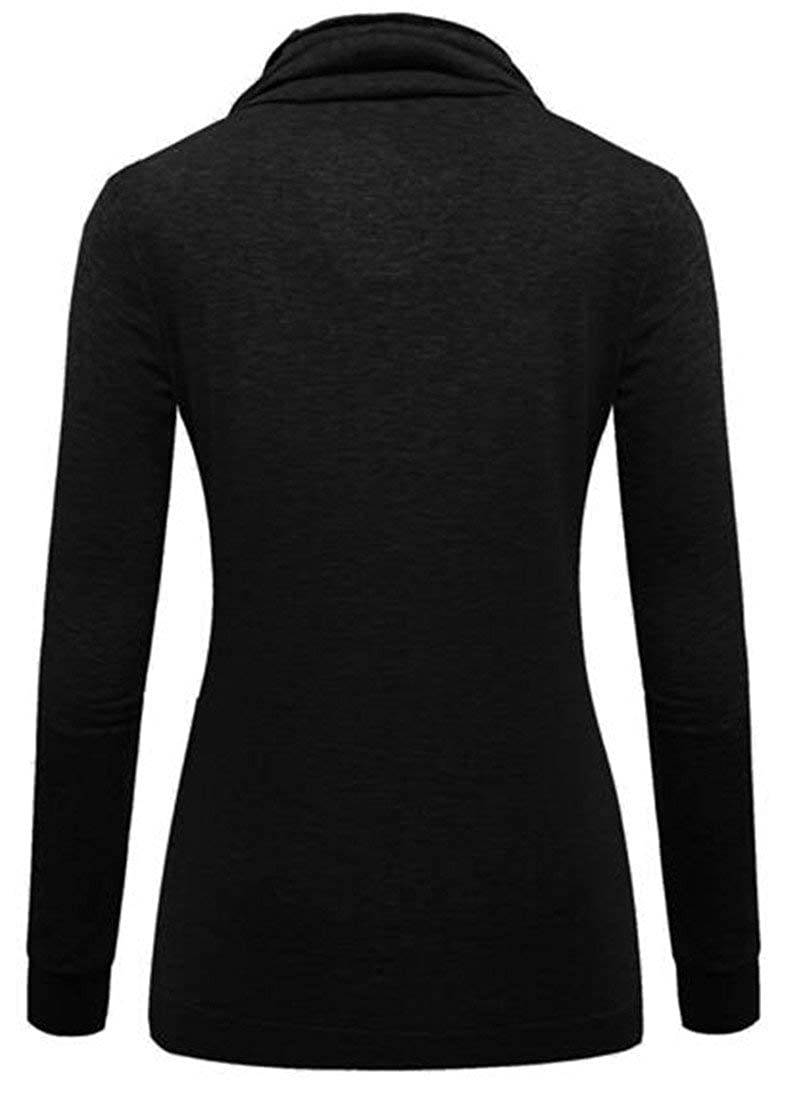 Hadudu Womens Long Sleeve Solid Color Slim Fit Pullover Sweatshirt Tops