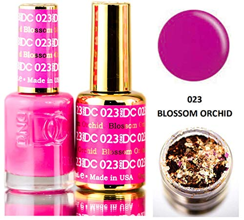 DND DC Pinks GEL POLISH DUO, Gel Lacquer 0.5 oz + Matching Nail Polish Color 0.5 oz, Daisy Nails (with bonus side Glitter) Made in USA (Blossom Orchid (023))