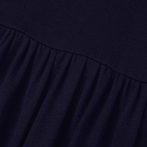 Simple PAOLIAN Cuello Verano Cómodo Manga Vestido Azul Larga Falda Sólido Corta Casual Bolsillo Mujer Marino Redondo YYwrTnAP