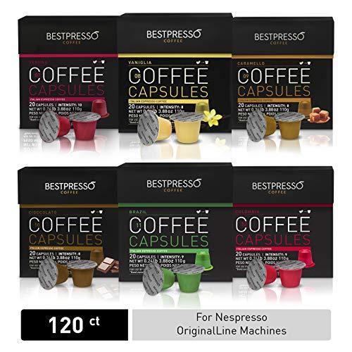 Bestpresso Coffee for Nespresso OriginalLine Machine 120 pods Certified Genuine Espresso Variety Pack mix Flavored and Dark roast, Pods Compatible with Nespresso OriginalLine