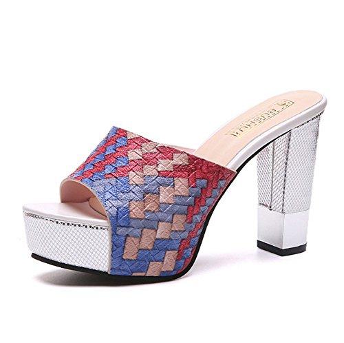 Zapatillas Personalidad weiwei Alto A De Señoras Zapatillas Grueso Tacón Las De Forradas Verano Y wII6RF
