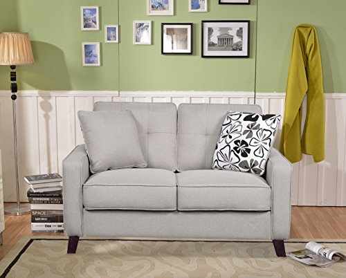 Living Room Container Furniture Direct Lillana Linen Upholstered Mid-Century Modern Loveseat with Two Accent Pillows, Beige modern sofas and couches