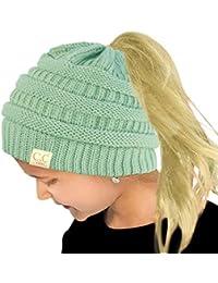 Kids Ponytail Messy Bun BeanieTail Soft Winter Knit Stretch Beanie Hat Solid Mint