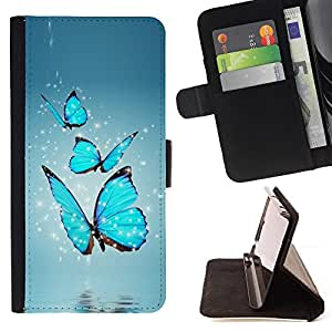 For Samsung Galaxy S6 active/G870A/G890A (Not Fit S6) BLUE BUTTERFLIES Style PU Leather Case Wallet Flip Stand Flap Closure Cover