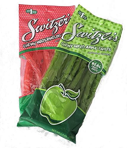 (Switzer's Chewy Green Apple Twists & Chewy Watermelon Twists Licorice 2-Pack )