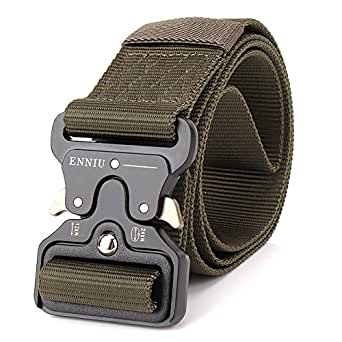 """Tactical Belt 1.75"""" Tactical Heavy Duty Waist Belt Quick-Release Military Style Shooters Nylon Belts with Metal Buckle (ArmyGreen)"""